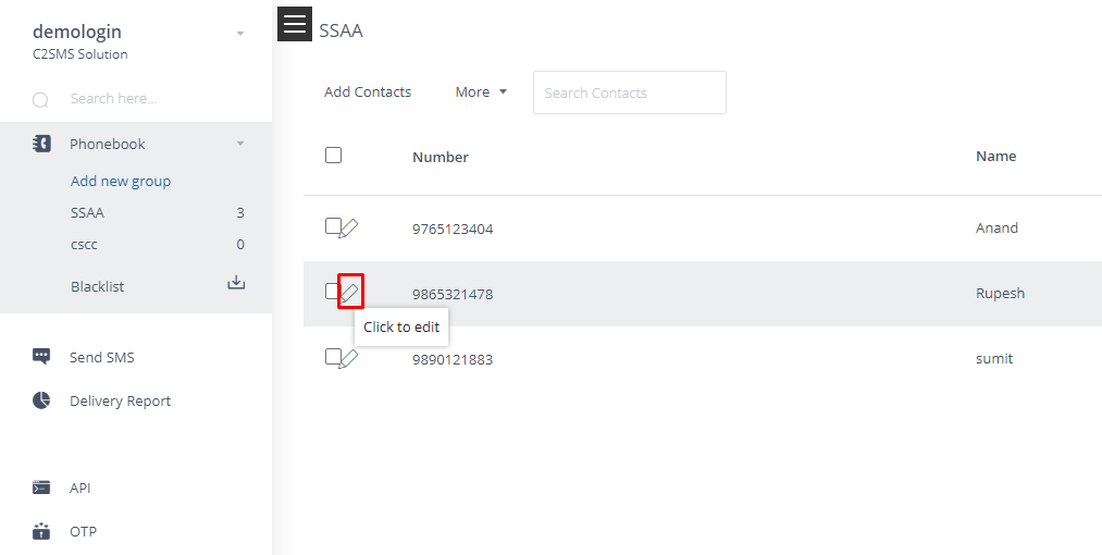How can I set default expiry of any number in c2sms Phonebook